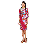 Bob Mackie's 3/4 Sleeve Paisley Floral Printed Knit Dress - A263724