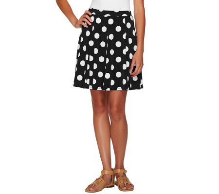 Susan Graver Printed Liquid Knit Pull-On Skort