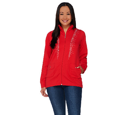 Quacker Factory Princess Seam Rhinestone Zip Front Jacket