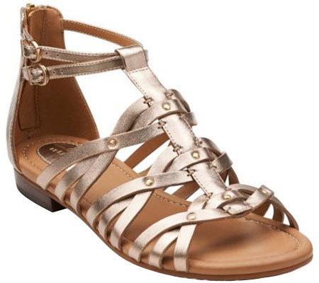 Clarks Artisan Leather Gladiator Sandals - Viveca Rome