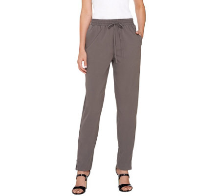 Lisa Rinna Collection Drawstring Pants with Zipper Detail