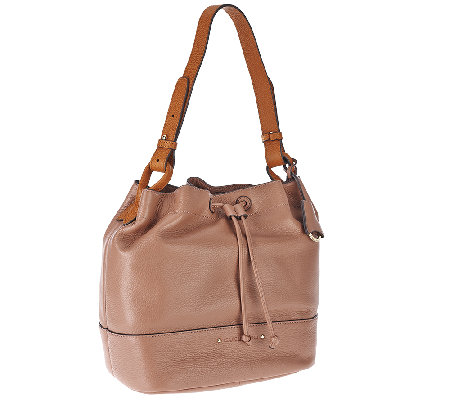 Isaac Mizrahi Live! Nolita Pebble Leather Bucket Bag