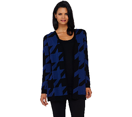 Susan Graver Cotton Acrylic Jacquard Sweater Cardigan