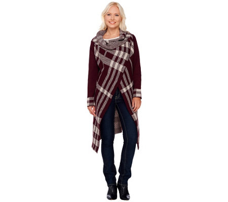 Attitudes by Renee Open Front Plaid Jacquard Sweater Coat