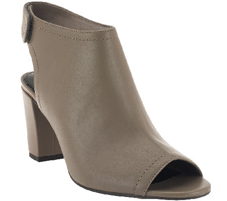 H by Halston Leather Peep-toe Ankle Boots with Heel - Linda
