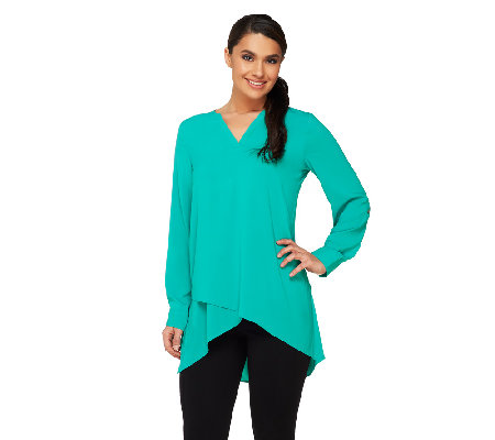 """As Is"" Susan Graver Petite Stretch Woven Tunic with Crossover Hem"