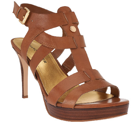 """As Is"" Marc Fisher Leather Strappy Heeled Sandals - Vachella"