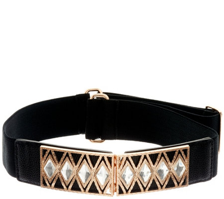 Susan Graver Stretch Belt with Embellished Buckle