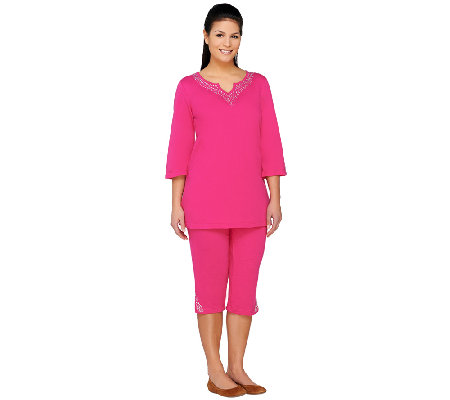"""As Is"" Quacker Factory Make the Bright Choice Tunic & Capri Pants Set"