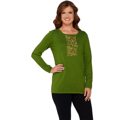 Bob Mackie's Beaded and Embroidered Sweater Knit Top