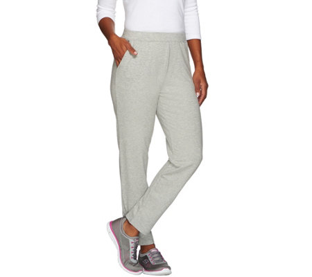 Denim & Co. Active Regular French Terry Slim Leg Pants w/Zipper Detail