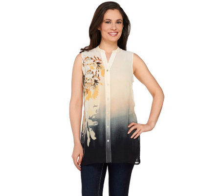 """As Is"" Susan Graver Printed Sheer Chiffon Sleeveless Shirt"