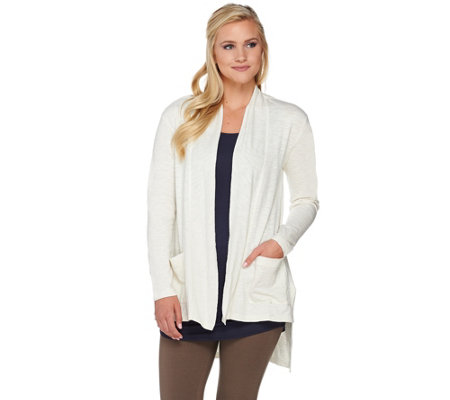 LOGO Lounge by Lori Goldstein Cotton Slub Cardigan with Pockets