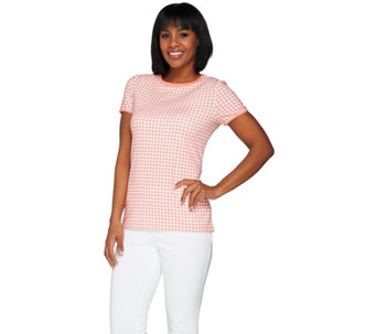 Isaac Mizrahi Live! Gingham Printed Short Sleeve Knit T-shirt - A275424