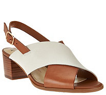 Isaac Mizrahi Live! Leather Cross Band Sandals w/ Block Heel - A277024