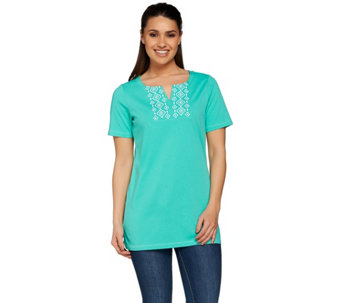 Denim & Co. Short Sleeve V-neck Tunic w/ Neckline Embroidery - A277624