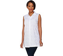 Dennis Basso Embroidered Cotton Button Front Blouse - A278224