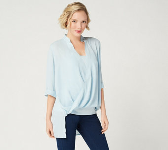 Lisa Rinna Collection Twist Front Top with Camisole - A278424