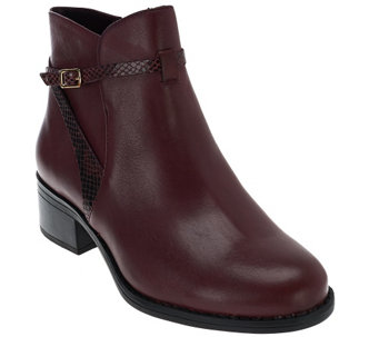 """As Is"" Isaac Mizrahi Live! Leather Ankle Boots with Strap Detail - A278524"