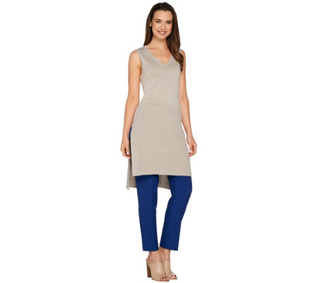 H by Halston Sleeveless V-Neck Ribbed Tunic with Slits