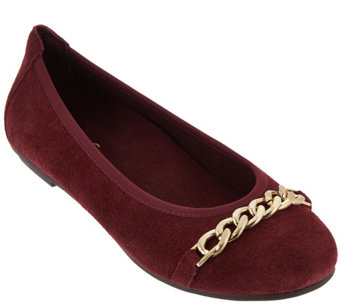 Vionic Orthotic Suede Flats with Hardware Detail - Pera - A279924