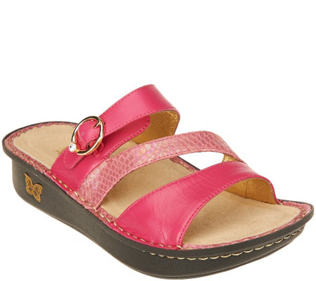 """As Is"" Alegria Leather Slide Triple Strap Sandals - Colette"