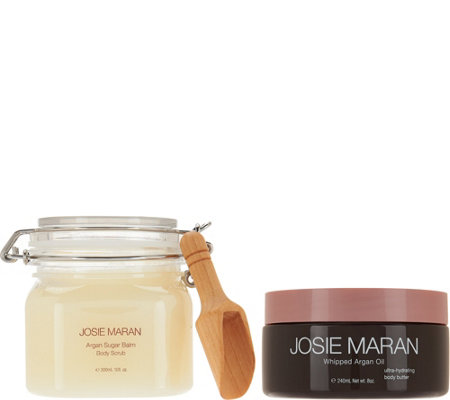 Josie Maran Whipped Argan Body Butter & Sugar Balm Scrub Duo