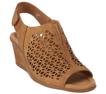 """As Is"" Earth Leather Wedge Sandals with Cut Out Details - Cascade - A281824"