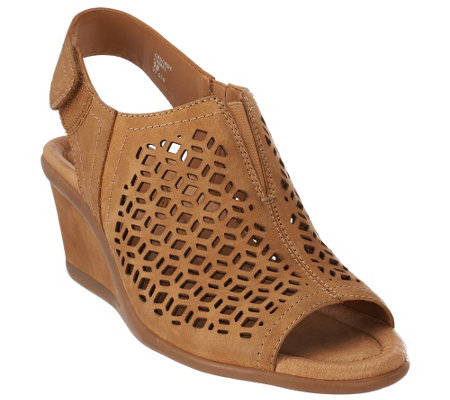 """As Is"" Earth Leather Wedge Sandals with Cut Out Details - Cascade"