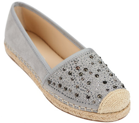 """As Is"" Franco Sarto Suede Slip-On Espadrilles w/ Studs- Twilight"