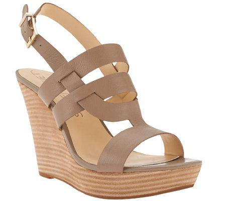 """As Is"" Sole Society Leather Wedges w/ Strap Detail - Jenny"