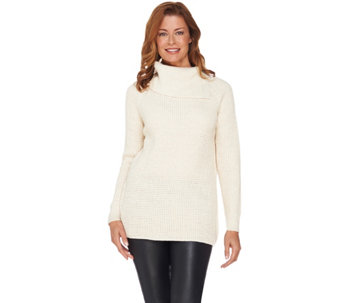 Dennis Basso Split Turtleneck Lurex Sweater - A286124