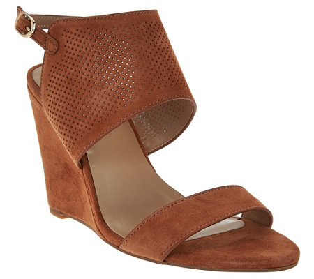 """As Is"" H by Halston High Wedge Suede Sandals - McKenzie"
