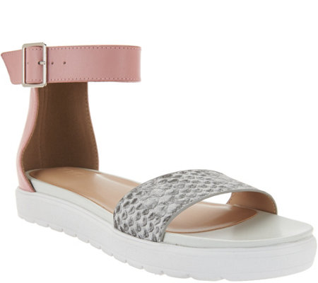 """As Is"" LOGO by Lori Goldstein Leather Ankle Strap Footbed Sandals"