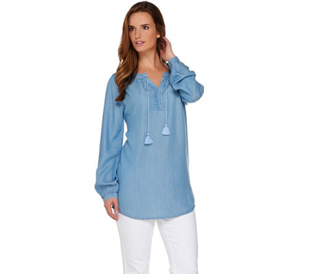 """As Is"" Denim & Co. Long Sleeve Tencel Denim Peasant Tunic"