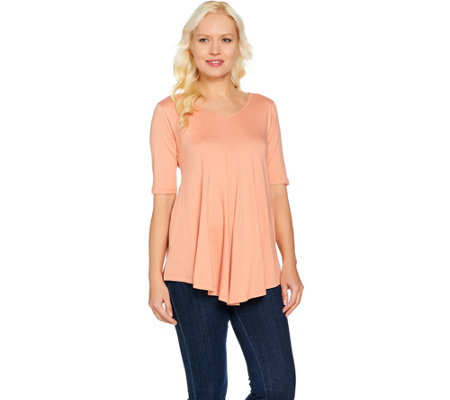 LOGO by Lori Goldstein V-Neck Swing Top with Pockets