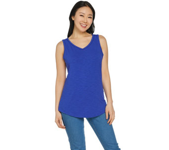 C. Wonder Essentials V-neck Curved Hem Tank Top - A288824