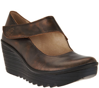 """As Is"" FLY London Leather Wedge Mary Janes - Yasi - A293224"