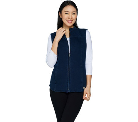 Quacker Factory DreamJeannes Zip Front Vest with Quilting Detail