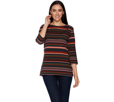Denim & Co. Perfect Jersey Striped 3/4 Sleeve Boat Neck Top