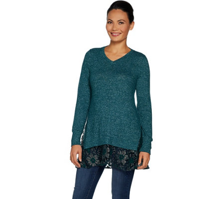 LOGO by Lori Goldstein Brushed Melange Sweater Top with Lace Hem