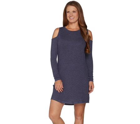 AnyBody Loungewear Brushed Hacci Cold Shoulder Dress