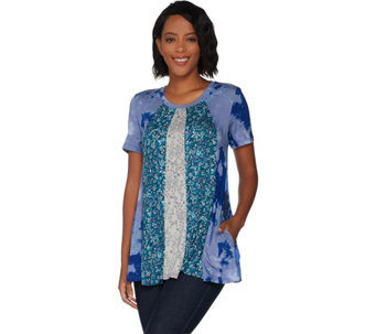 LOGO by Lori Goldstein Multi Printed Paneled Top with Pockets - A299624