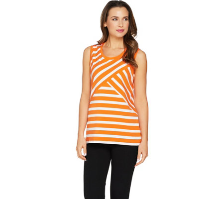 """As Is"" Susan Graver Weekend Striped Cotton Modal Sleeveless Top"