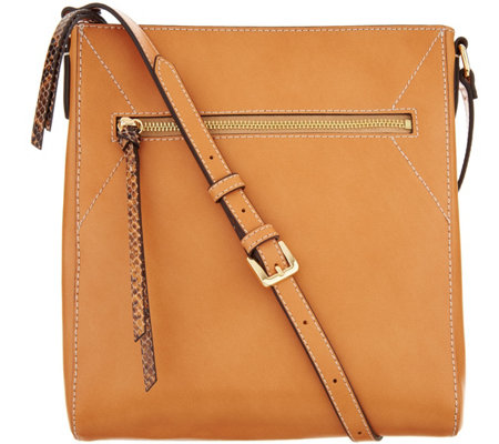 """As Is"" G.I.L.I. Pebble Leather Flat Crossbody"