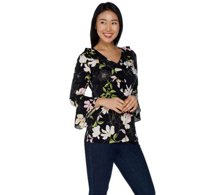 Susan Graver Printed Liquid Knit Top with Ruffle Detail