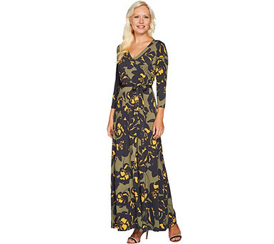 Du Jour Printed Faux Wrap Knit Maxi Dress - A301524