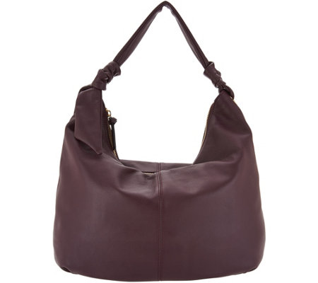 """As Is"" Tignanello Smooth Leather Soft Knot Hobo Handbag"
