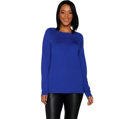 """As Is"" Susan Graver Rayon Nylon Raglan Sleeve Sweater with Lacing"