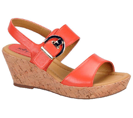 Softspots Rach Leather Wedge Sandals